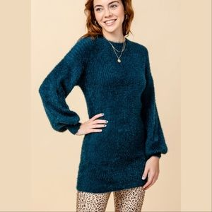Knit Sweater Dress Puff Sleeves